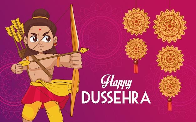 Glückliches dussehra festivalplakat mit rama-charakter und hängenden mandalas