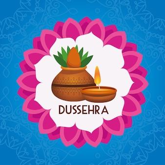 Glückliches dussehra festivalplakat mit zimmerpflanze und kerze im mandala