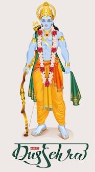 Glückliches dussehra hindu festival. lord rama hält pfeil und bogen