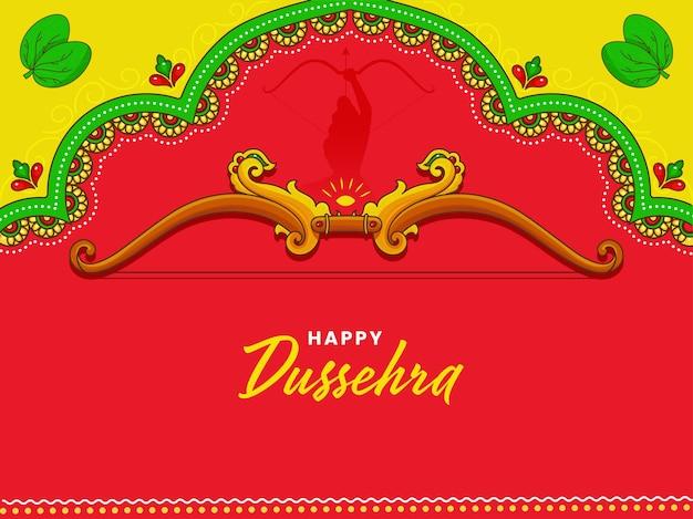 Glückliches dussehra-konzept mit bogenwaffe von lord rama, apta verlässt auf rotem und grünem hintergrund.