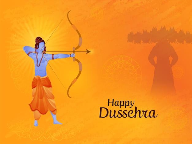 Glückliches dussehra-konzept mit lord rama, der ein ziel gegen dämon ravana auf orange mandala-muster-hintergrund nimmt.