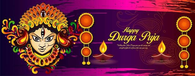 Glückliches dussehra navratri-hintergrunddesign, das in der hinduistischen religion und dem festival von durga puja . gefeiert wird