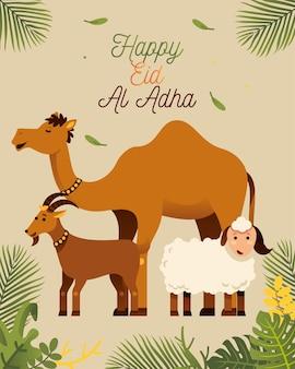 Glückliches eid al adha-gruß mit kamelziege und -schafen