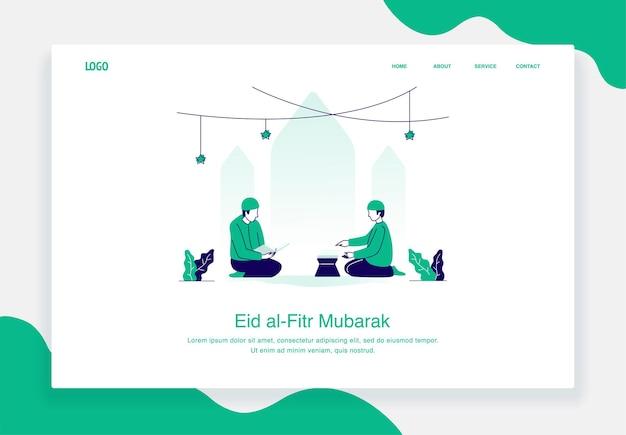 Glückliches eid al fitr illustrationskonzept von zwei mannsitzen beim lesen des koranflachentwurfs