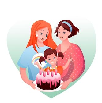 Glückliches elternkind, das kindergeburtstag, frau liebendes paar feiert. lgbt liebe und elternschaft