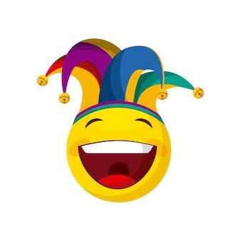 Glückliches emoji mit spaßvogelhut
