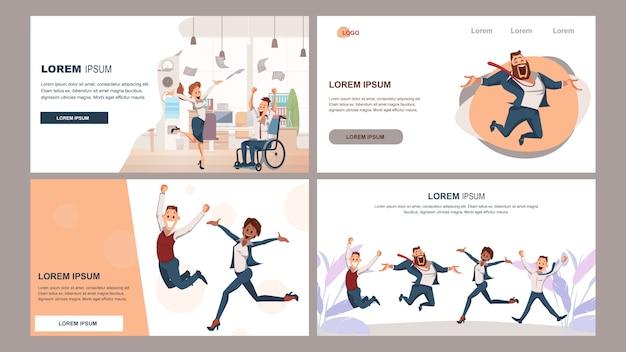 Glückliches erfolgreiches coworking business team jump up