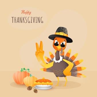 Glückliches erntedankplakat mit truthahnvogel, der zwei finger oben, eicheln, kürbisse und kuchen-torte auf hellbraunem hintergrund zeigt.