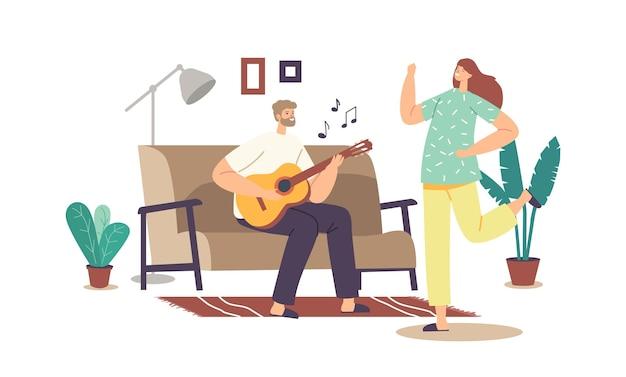 Glückliches familien-paar-home-party-konzept. mann spielt gitarre und singt lied, frauentanz. männliche und weibliche charaktere wochenende freizeit, freizeit, freude zusammen. cartoon-menschen-vektor-illustration