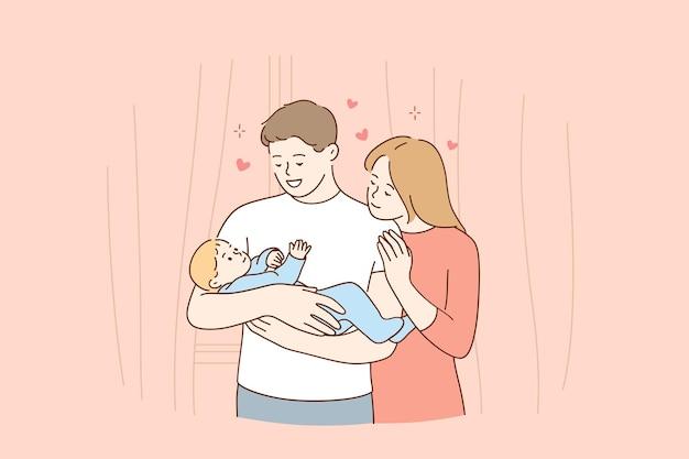 Glückliches familien- und kindheitskonzept Premium Vektoren