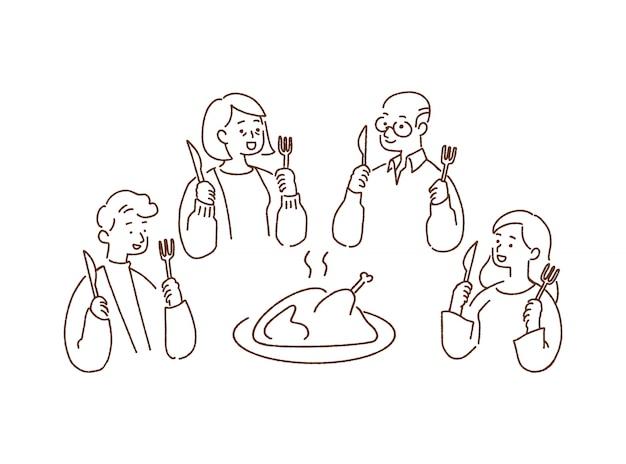 Glückliches familienabendessen mit bratentruthahn, danksagungskonzept, von hand gezeichnete artillustration.