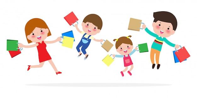 Glückliches familieneinkaufen, eltern und kinder, die mit paket, großer verkauf springen. kauf von waren und geschenken. einkaufen . illustration
