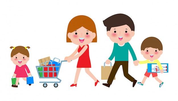 Glückliches familieneinkaufen, eltern und kinder mit käufen auf warenkorb, großer verkauf. kauf von waren und geschenken. einkaufen . illustration