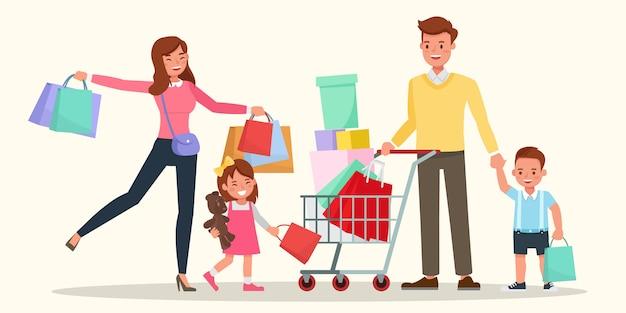 Glückliches familieneinkaufen zusammen.