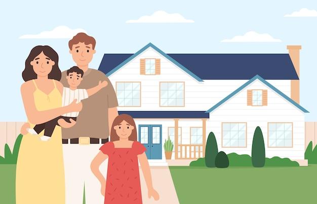 Glückliches familienheim. junges paar mit kindern vor ihrem haus