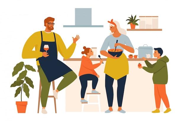 Glückliches familienkochen. mutter und vater mit kindern kochen geschirr in der küchenkarikaturillustration. familie kocht mutter, sohn, tochter und vater in der küche.