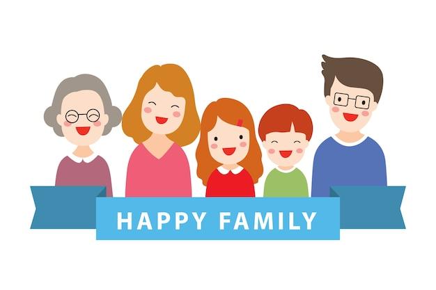 Glückliches familienporträt des flachen designs