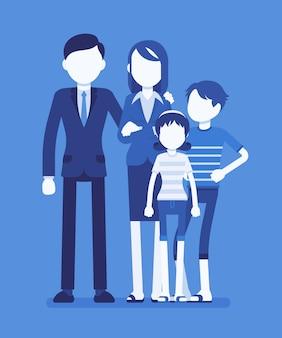 Glückliches familienporträt. die soziale gruppe, bestehend aus zwei eltern und kindern, lebt als einheit zusammen, erwachsene und kinder, paar mit sohn und tochter. illustration mit gesichtslosen zeichen