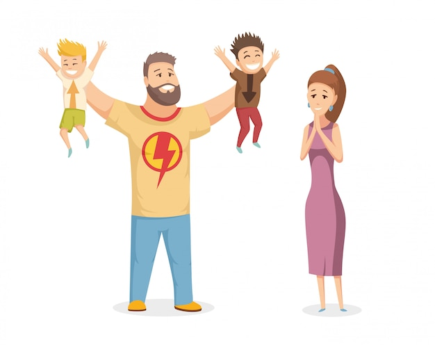 Glückliches familienporträt. glückliche familie, die mit nettem lächeln gestikuliert