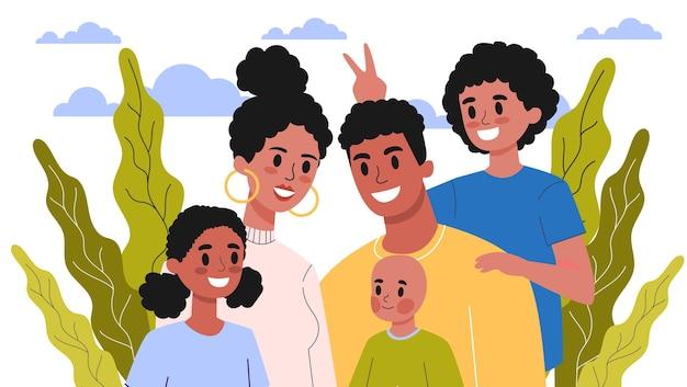 Glückliches familienporträt. mama und papa, kinder und ihre geschwister. illustration