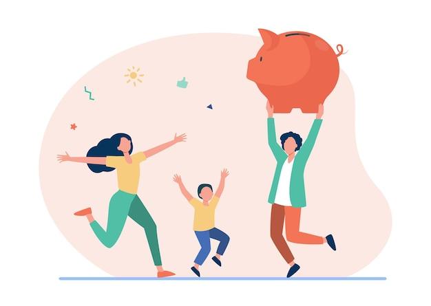 Glückliches familienspringen mit riesigem sparschwein. karikaturillustration
