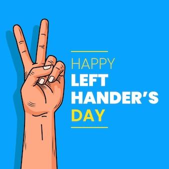 Glückliches friedenszeichen für linkshänder