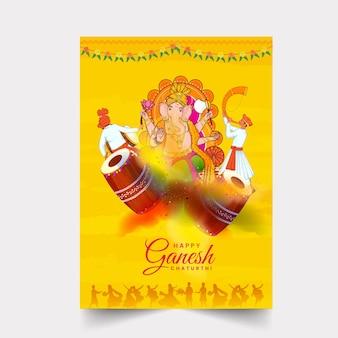 Glückliches ganesh chaturthi-flyer-design mit lord ganesha-statue, maharashtrian-männer, die musikinstrument auf gelbem hintergrund spielen.
