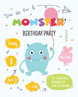 Glückliches geburtstags-partyeinladungskartendesign des netten monsters alles. vektor