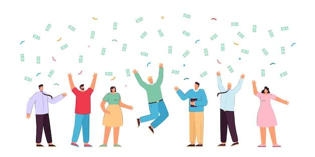 Glückliches geschäftsteam freut sich über geld, das von oben fällt