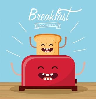 Glückliches geschnittenes brot mit den armen und toaster