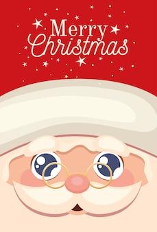 Glückliches gesicht des weihnachtsmannes mit der frohen weihnachtsbeschriftung und der brillenillustration