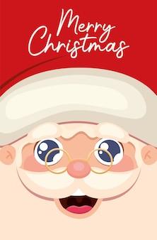Glückliches gesicht des weihnachtsmannes mit der frohen weihnachtsbeschriftungsillustration