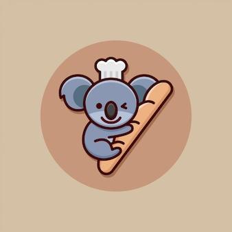Glückliches gesicht kleine koala mit einem langen brot