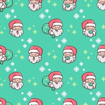Glückliches gesicht santa claus kopf weihnachts nahtloses muster mit schneeflock