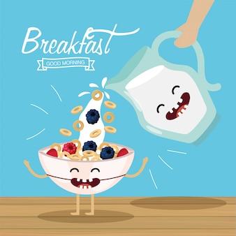 Glückliches getreide mit früchten und milchglas