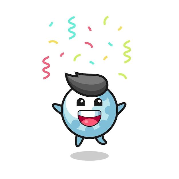 Glückliches golfmaskottchen springen für glückwünsche mit farbkonfetti