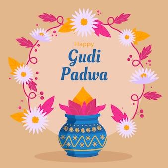 Glückliches gudi padwa-fest des flachen designs
