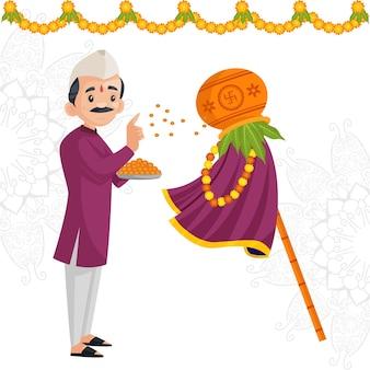 Glückliches gudi padwa indisches festivalfahnenentwurf mit mann, der anbetung tut
