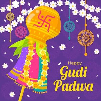 Glückliches gudi padwa-konzept des flachen designs