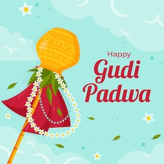Glückliches gudi padwa-thema des flachen designs
