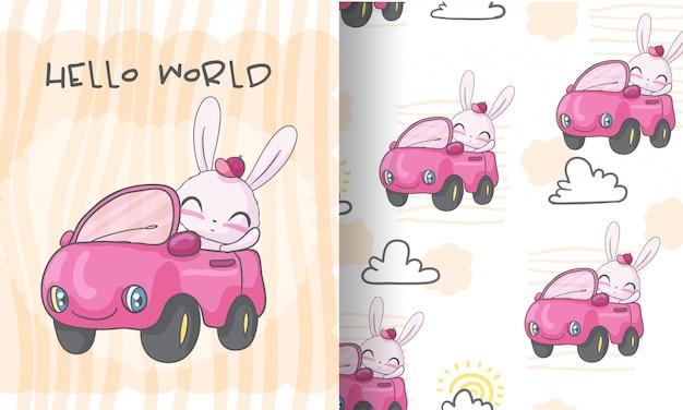 Glückliches häschen auf nahtloser musterillustration des autos für kinder