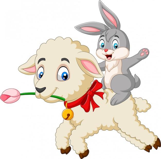Glückliches häschen der karikatur, das ein lamm reitet
