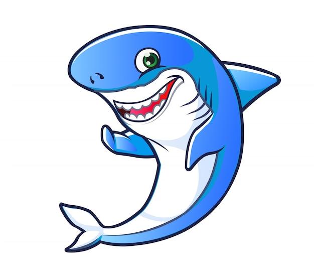 Glückliches haifisch-maskottchen
