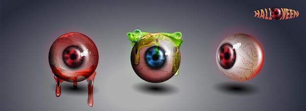 Glückliches halloween-auge. rotes auge. beängstigend blutige realistische augäpfel. gespenstischer menschlicher augapfel mit schmutz-blut-spritzer. vektor