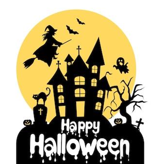 Glückliches halloween-banner. haus mit den geistern. die hexe fliegt auf einem besen