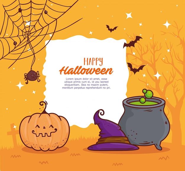 Glückliches halloween-banner, kesselhexe, kürbis, hut, spinne und fledermäuse fliegen vektor-illustrationsdesign