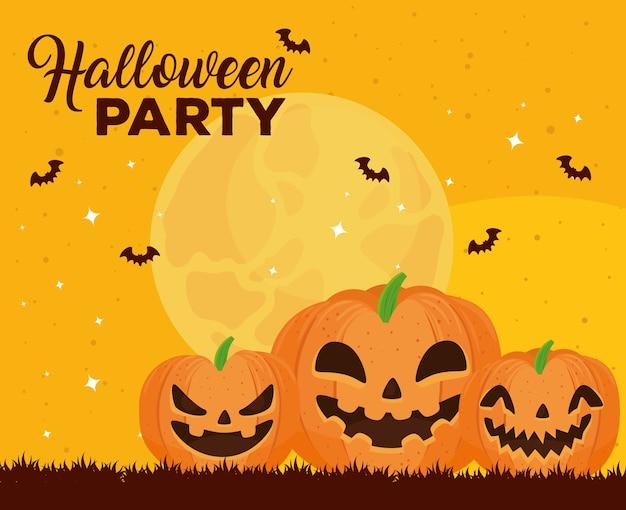 Glückliches halloween-banner mit fliegenden kürbissen und fledermäusen