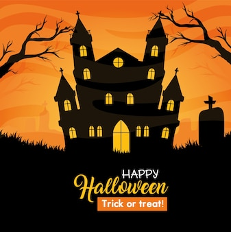 Glückliches halloween-banner mit heimgesuchtem schloss