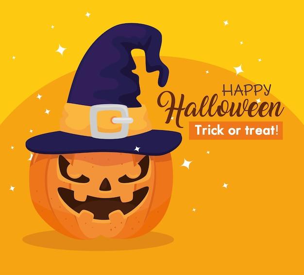 Glückliches halloween-banner mit kürbis und hexenhut