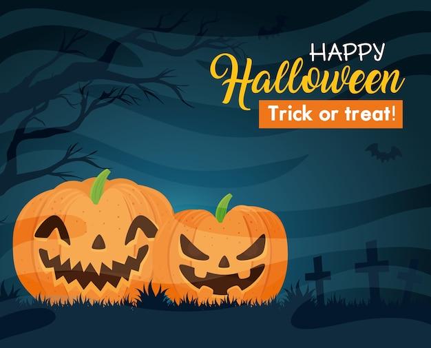Glückliches halloween-banner mit kürbissen, fliegenden fledermäusen und trockenem baum Premium Vektoren
